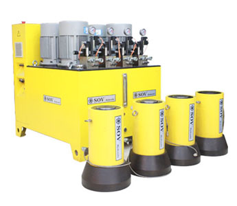 Synchronous hydraulic lifting systems